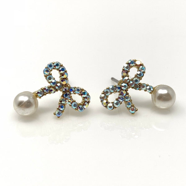 Crystal Bow & Pearl Post Earrings, Earrings - www.thestoneflower.com