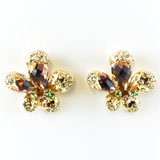 Crystals Gold Post Earrings