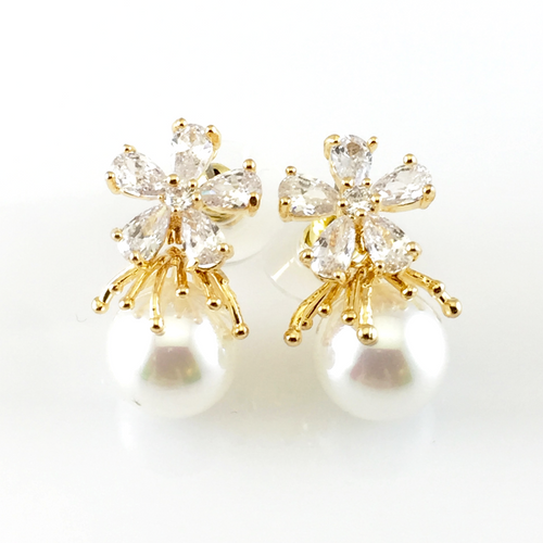 Crystal Flower & Pearl Post Earrings, Earrings - www.thestoneflower.com