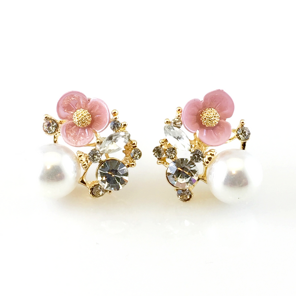 Flower & Pearl Post Earrings, Earrings - www.thestoneflower.com