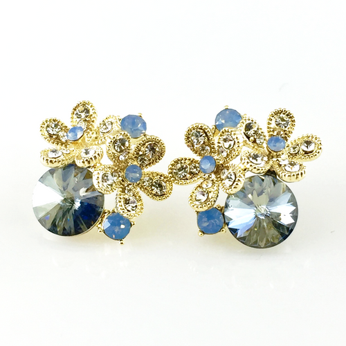 Blue Flower Crystal Post Earrings, Earrings - www.thestoneflower.com