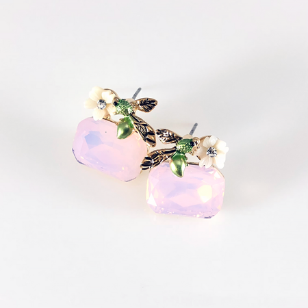 Crystal Leaf on Pearl Post Earrings
