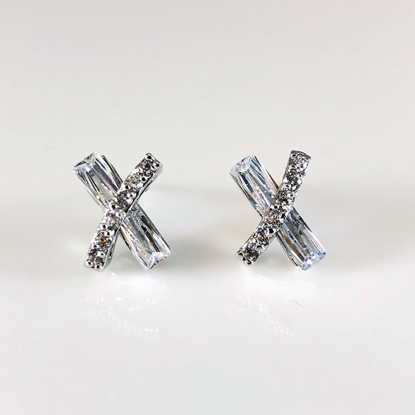 X Shape Crystal Post Earrings