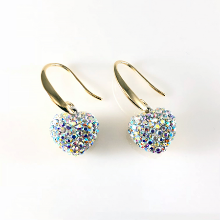 Crystal Gold Double Hearts Stud Earrings