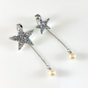 Sparkling Star with Pearl Dropping Post Earring, Earrings - www.thestoneflower.com