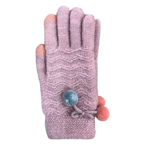 Pom-Pom Touchscreen Knitted Gloves