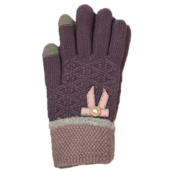 Tiny Bow Touchscreen Knitted Gloves