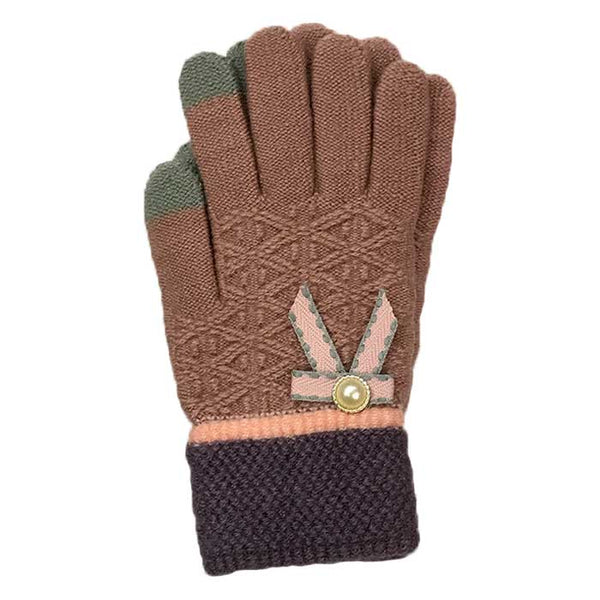 Tiny Bow Touchscreen Knitted Gloves, Clothing - www.thestoneflower.com