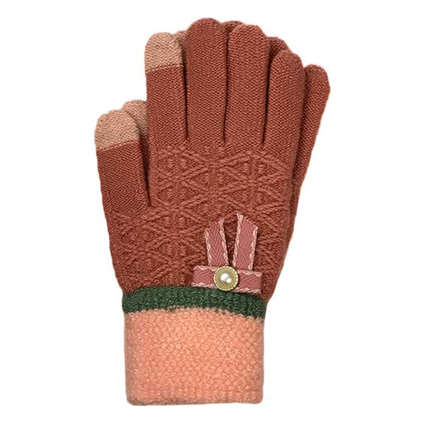 Tiny Bow Touchscreen Knitted Gloves, Winter Wear - www.thestoneflower.com