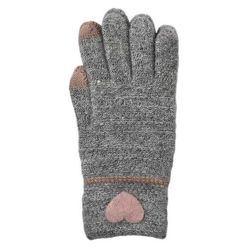 Heart Touchscreen Knitted Gloves, Clothing - www.thestoneflower.com