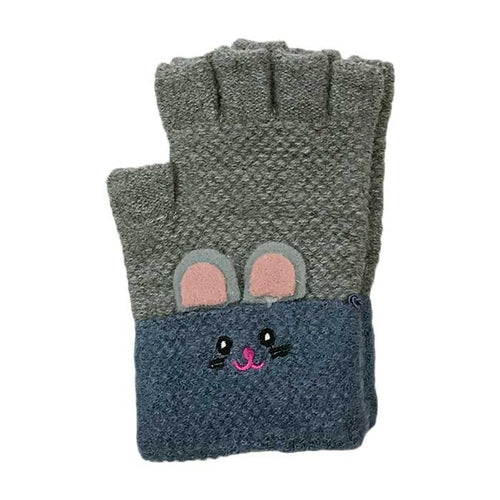 Bunny Knitted Wool Half Finger Gloves, Clothing - www.thestoneflower.com