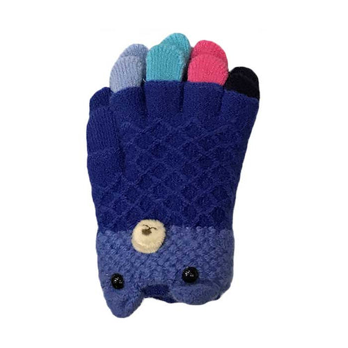 Cute Bear Colorful Fingers Knitted Gloves
