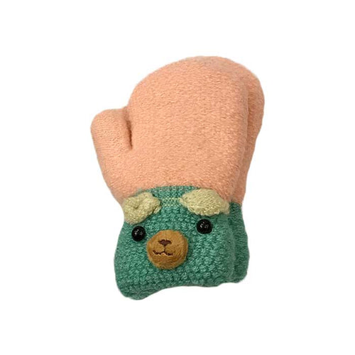 Cute Bear Children Knitted Mittens