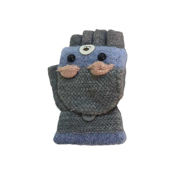 Cute Bear Flip Top Knitted Gloves