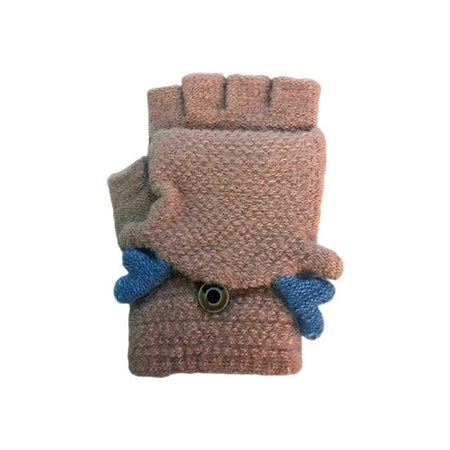 Fluffy Cute Bunny Flip Top Knitted Gloves