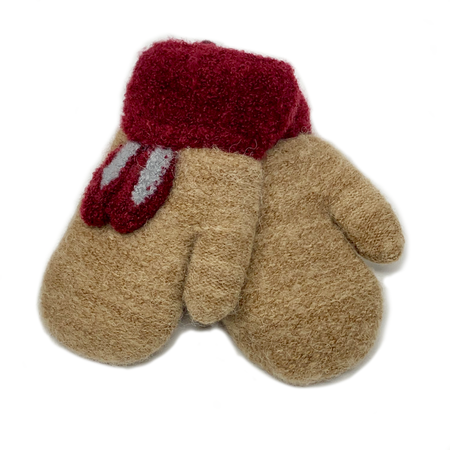 Reindeer Children Knitted Mittens