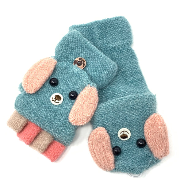 Cute Doggy Flip Top Knitted Mittens, Clothing - www.thestoneflower.com