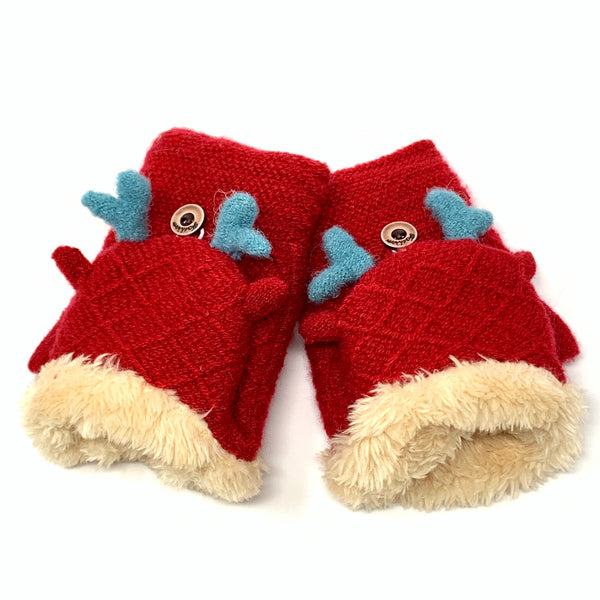 Cute Deer Flip Top Knitted Mittens, Clothing - www.thestoneflower.com