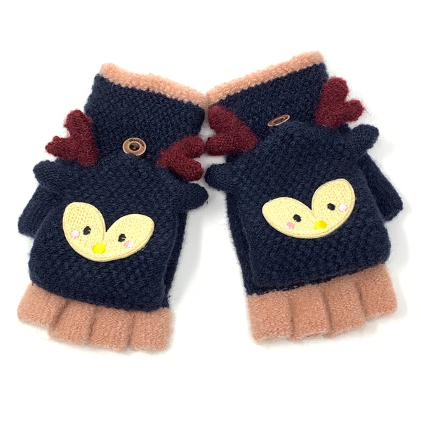 Cute Reindeer Flip Top Knitted Mittens, Clothing - www.thestoneflower.com