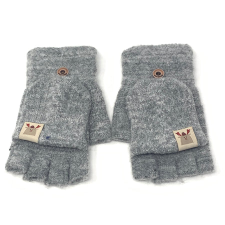 Fluffy Sleeping Fox Flip Top Knitted Gloves