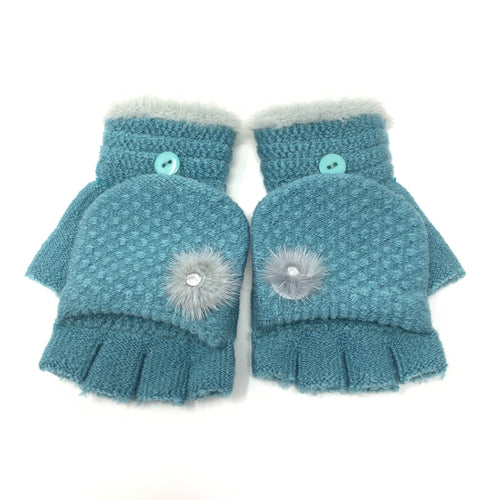 Mini Pom-pom Flip Top Knitted Gloves, Clothing - www.thestoneflower.com