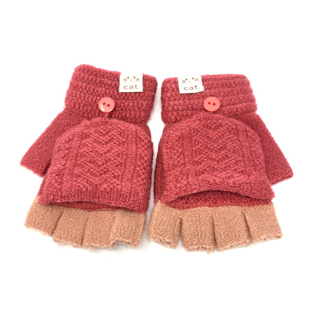 Cute Sleeping Cat Flip Top Knitted Gloves
