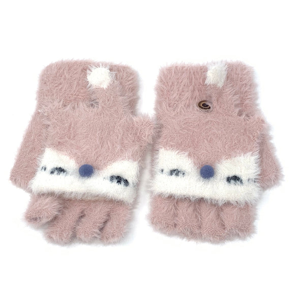 Fluffy Sleeping Fox Flip Top Knitted Gloves, Clothing - www.thestoneflower.com