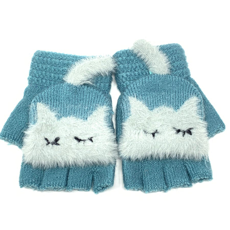 Cute Elephant Flip Top Knitted Gloves