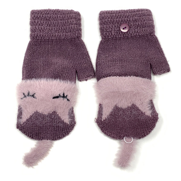 Cute Sleeping Cat Flip Top Knitted Gloves, Clothing - www.thestoneflower.com