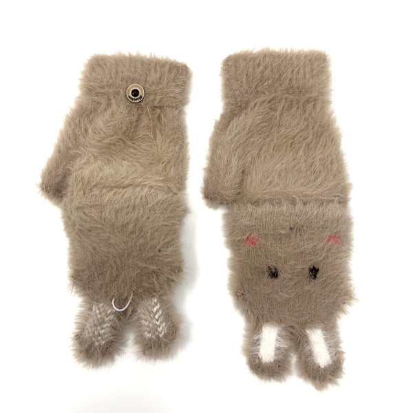 Fluffy Cute Bunny Flip Top Knitted Gloves, Clothing - www.thestoneflower.com
