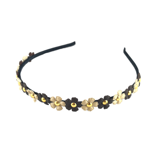 Black & Gold Mini Flowers Headband, Hair Accessories - www.thestoneflower.com