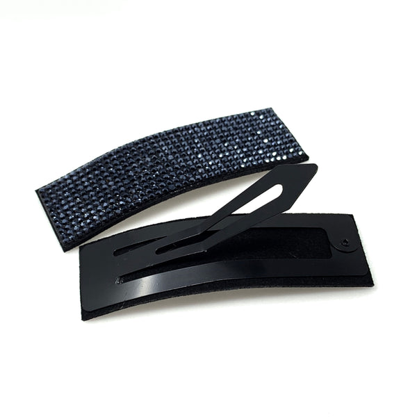 Navy Blue Rhinestone Snap Clip, Hair Accessories - www.thestoneflower.com