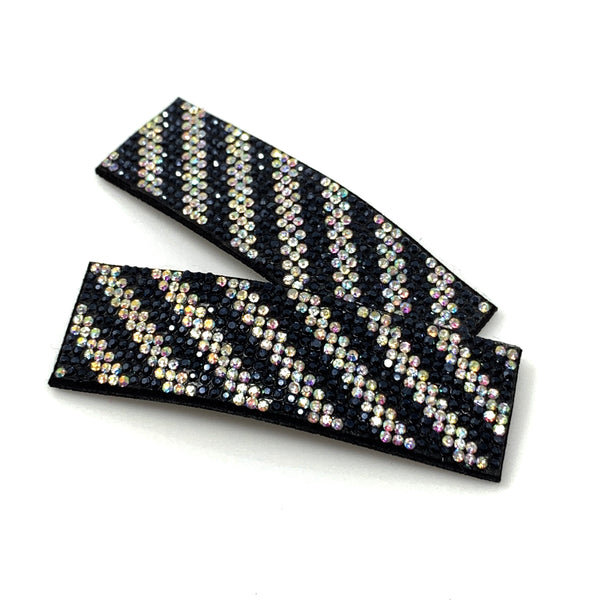 Navy blue & White Rhinestone Snap Clip, Hair Accessories - www.thestoneflower.com