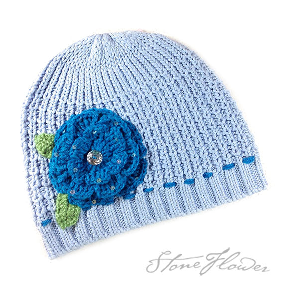 Blue Drawstring Knitted Beanies, Clothing - www.thestoneflower.com