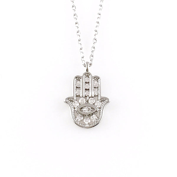 Crystal Hamsa Charm Necklace, Necklaces - www.thestoneflower.com