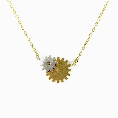 Two-Tone Gears Charm Necklace