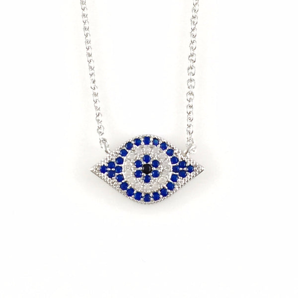 Large Evil Eye Charm Necklace, Necklaces - www.thestoneflower.com
