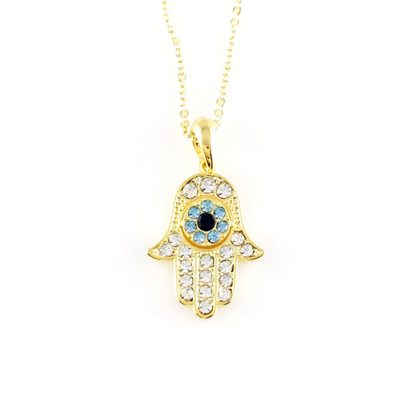 Blue Hamsa Charm Necklace, Necklaces - www.thestoneflower.com