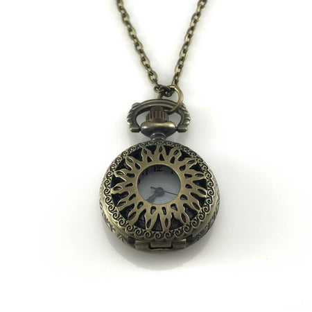 Green Flower Design Pocket Watch Pendant Necklace