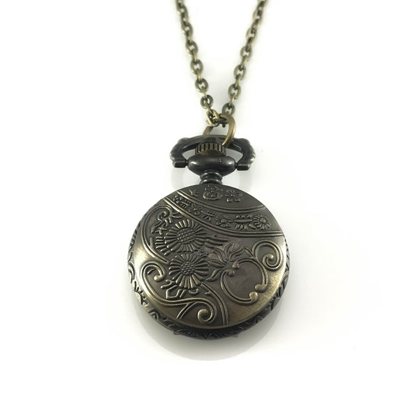 Zodiac Design Pocket Watch Pendant Necklace, Necklaces - www.thestoneflower.com