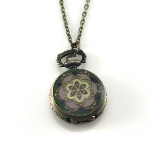 Flower Design Pocket Watch Pendant Necklace, Necklaces - www.thestoneflower.com