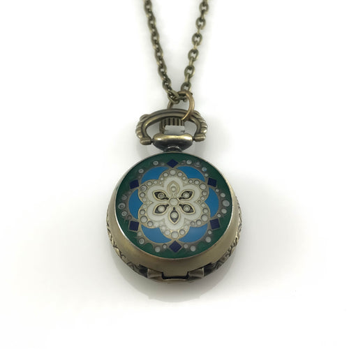 Blue Flower Design Pocket Watch Pendant Necklace, Necklaces - www.thestoneflower.com