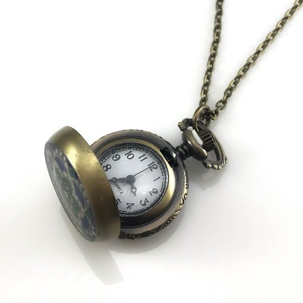 Green Flower Design Pocket Watch Pendant Necklace, Necklaces - www.thestoneflower.com