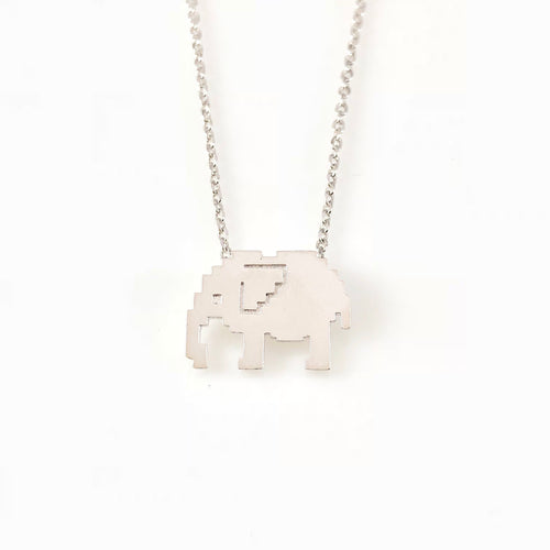 Pixel Elephant Charm Necklace, Necklaces - www.thestoneflower.com