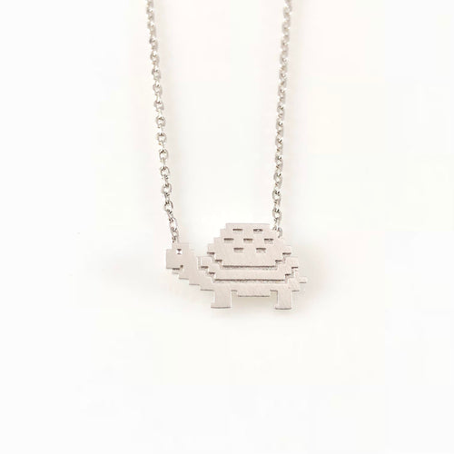 Pixel Turtle Charm Necklace, Necklaces - www.thestoneflower.com
