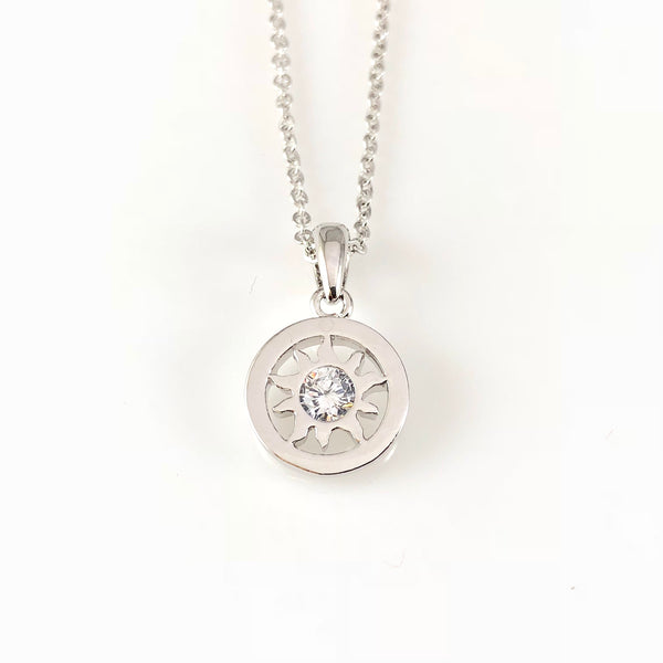 Silver Sun Charm Necklace, Necklaces - www.thestoneflower.com
