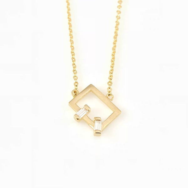 Cubic Rectangle Charm Necklace, Necklaces - www.thestoneflower.com