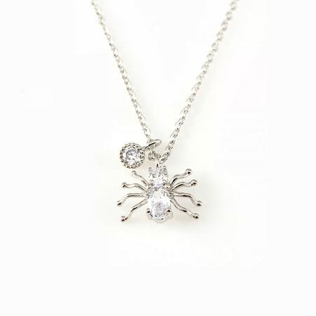 Crystal Leafs & Pearl Pendant Necklace