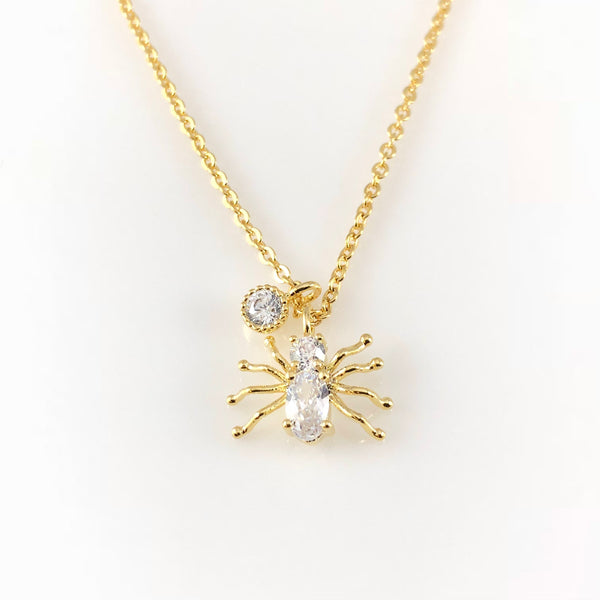 Cubic Spider Charm Necklace, Necklaces - www.thestoneflower.com