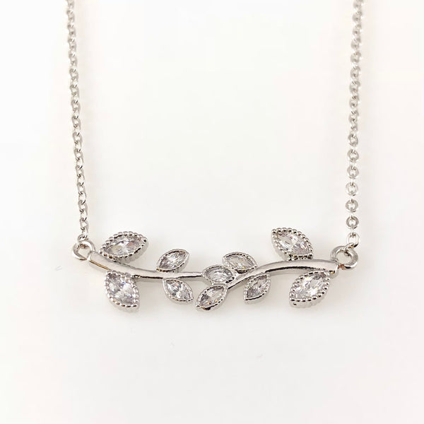 Silver Leafs Charm Necklace, Necklaces - www.thestoneflower.com